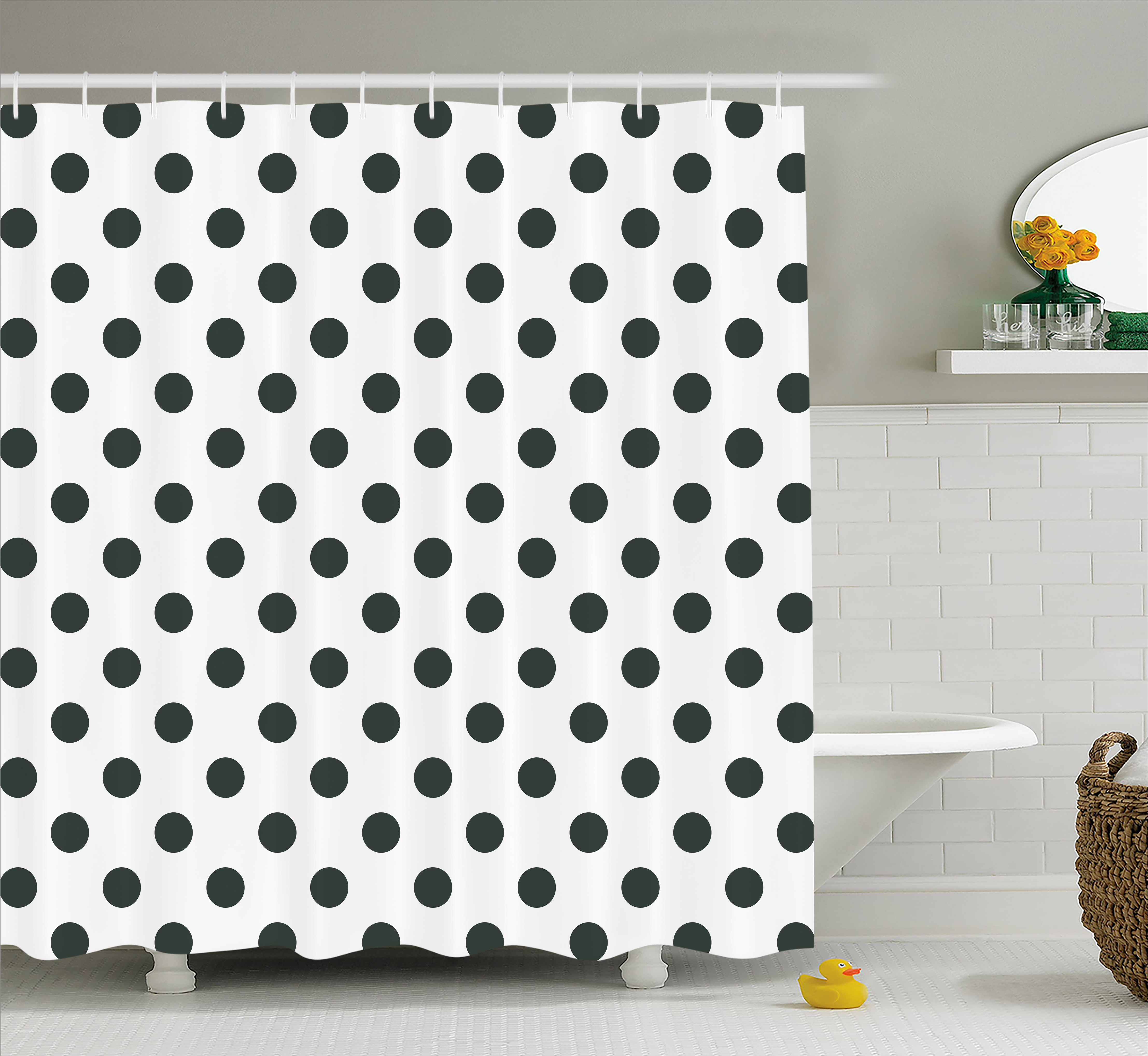 retro shower curtain. Retro Shower Curtain, Nostalgic Polka Dots Pattern With Large Round Circles Minimalist Modern Art Print Curtain