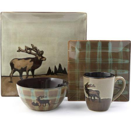 Better Homes & Gardens Roaming Elk 16-Piece Square Dinnerware Set, Brown - Walmart Plates And Bowls