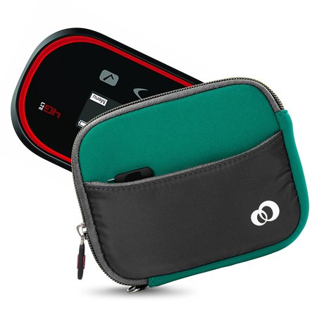 "Mini Portable 5.65"" Carrying case sleeve for WiFi HotSpot Modem & Router Mobile, Camera Case, External Battery Sleeve PLUS Secure Hand Wrist Strap (Green)"