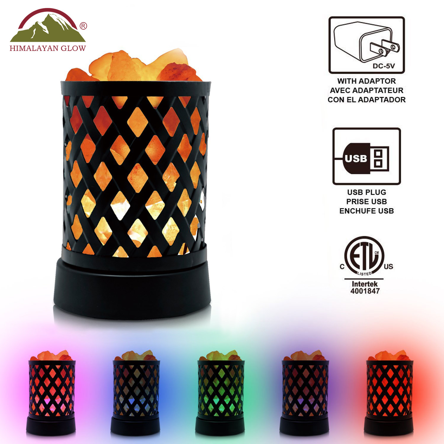 Himalayan Glow Lattice USB Multicolor Nightlight with Salt Chunks