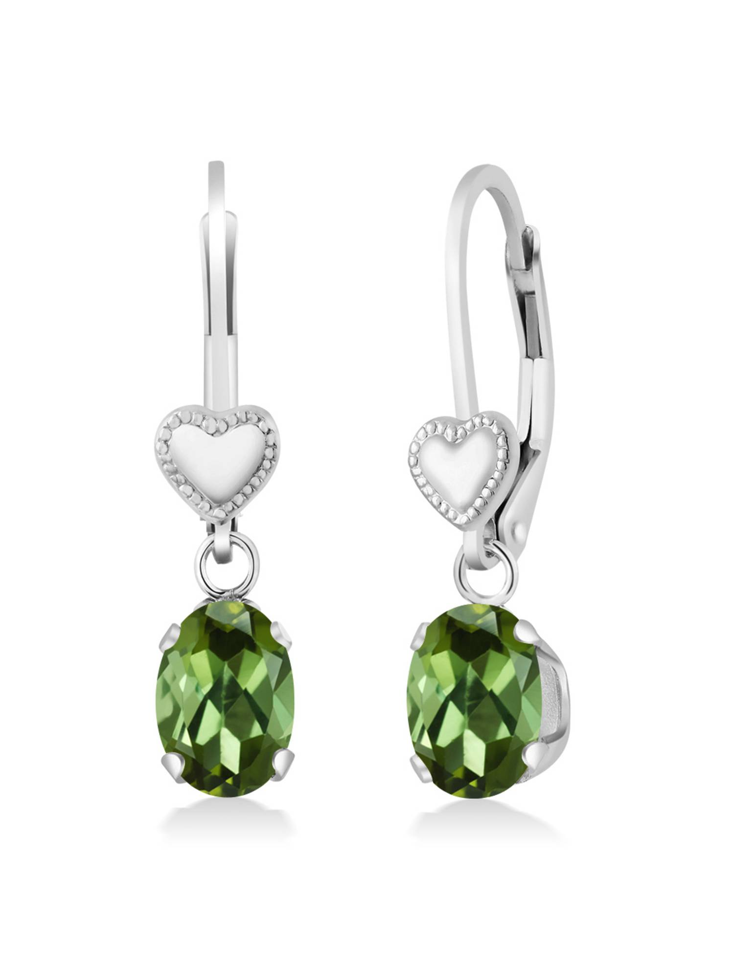 1.70 Ct Oval Green Tourmaline 925 Sterling Silver Earrings by