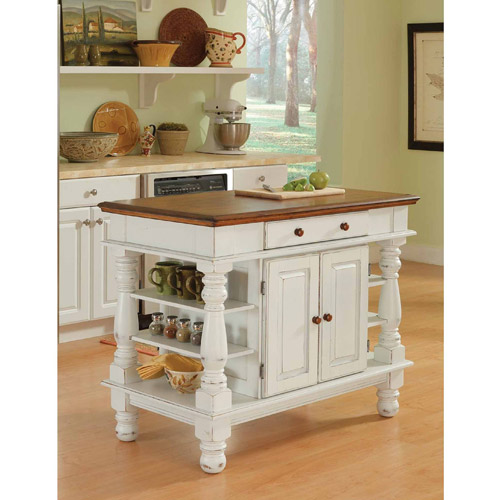 Home Styles Americana Antiqued White Kitchen Island