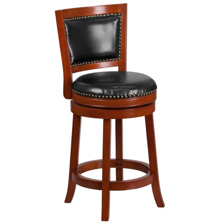 Flash Furniture 26'' High Light Cherry Wood Counter Height Stool with Open Panel Back and Black LeatherSoft Swivel Seat Cherry Wood Counter