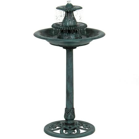 Best Choice Products 3-Tier Indoor Outdoor Polyresin Pedestal Bird Bath Fountain Decor with Pump, Green ()