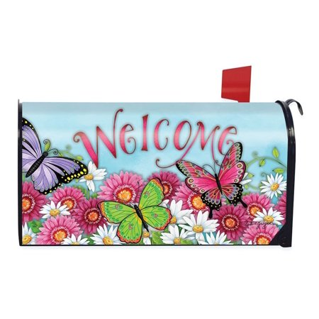 Free Mailbox Cover (Butterfly Welcome Spring Magnetic Mailbox Cover Floral Briarwood Lane Standard)