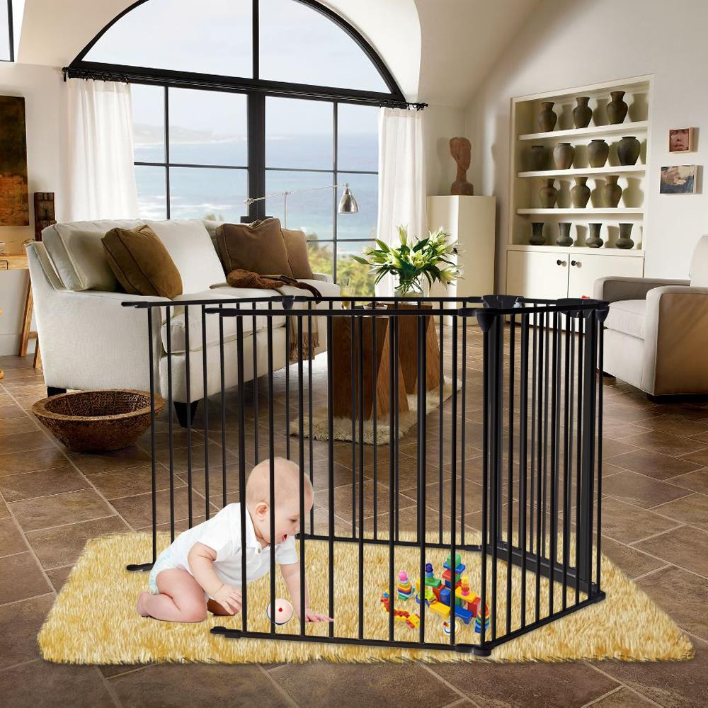 Ktaxon Baby Safety Fence Black Wide Metal Play Yard Adjustable Fireplace Hearth BBQ Fire Gate Christmas Tree Gate 5-Panel Playpen