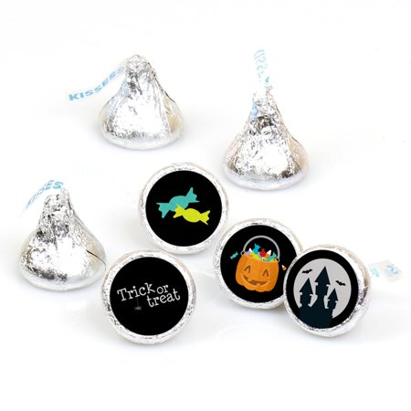Trick or Treat - Round Candy Halloween Party Sticker Favors - Labels Fit Hershey's Kisses (1 sheet of 108) (Easy Treats For Halloween Party)