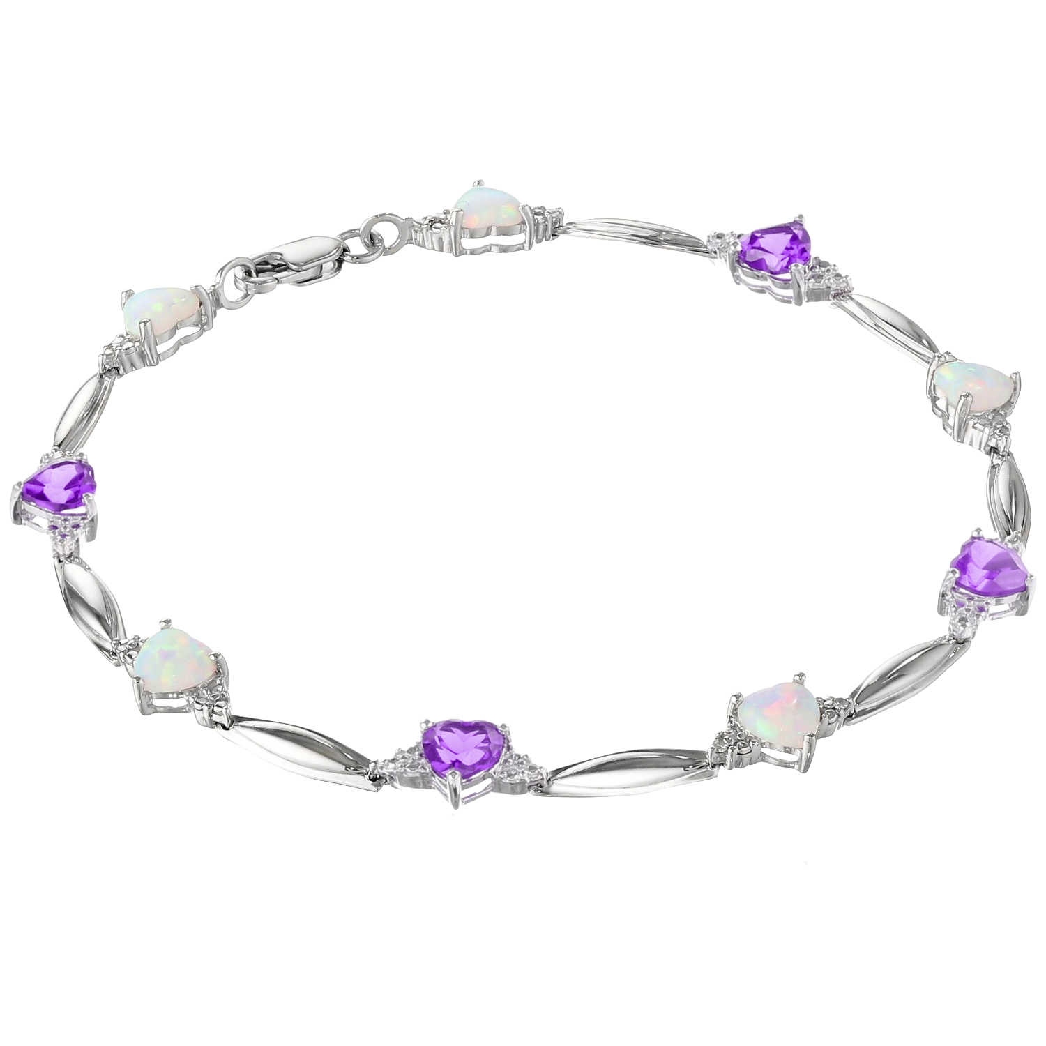 5MM Heart Opal and Amethyst .01 cttw Diamond Sterling Silver Bracelet by Metro Jewelry