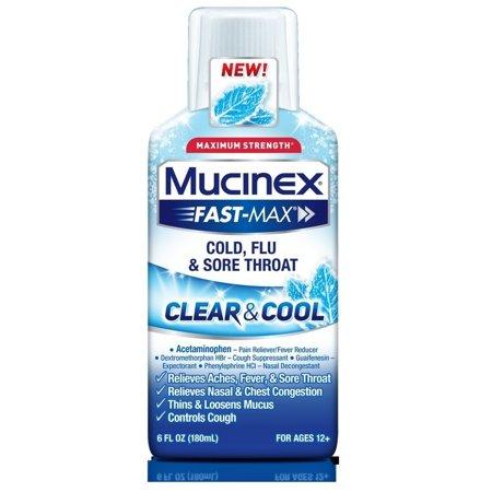 Mucinex Fast-Max Clear & Cool Adult Liquid - Cold, Flu, & Sore Throat 6 (Best Medicine For Sore Throat And Headache)
