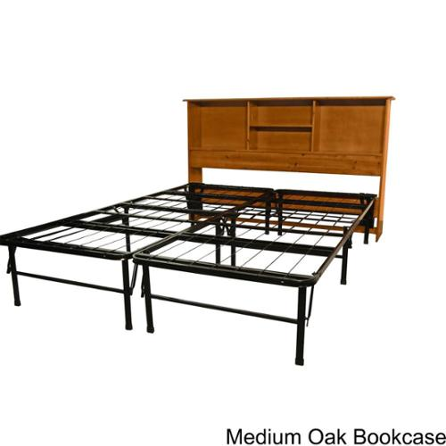 EpicFurnishings DuraBed Full-size Steel Foundation & Frame-in-One Mattress Support System with All Wood Bookcase Hea