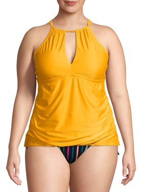 Time and Tru Women's Plus Size Keyhole Tankini Swimsuit Top
