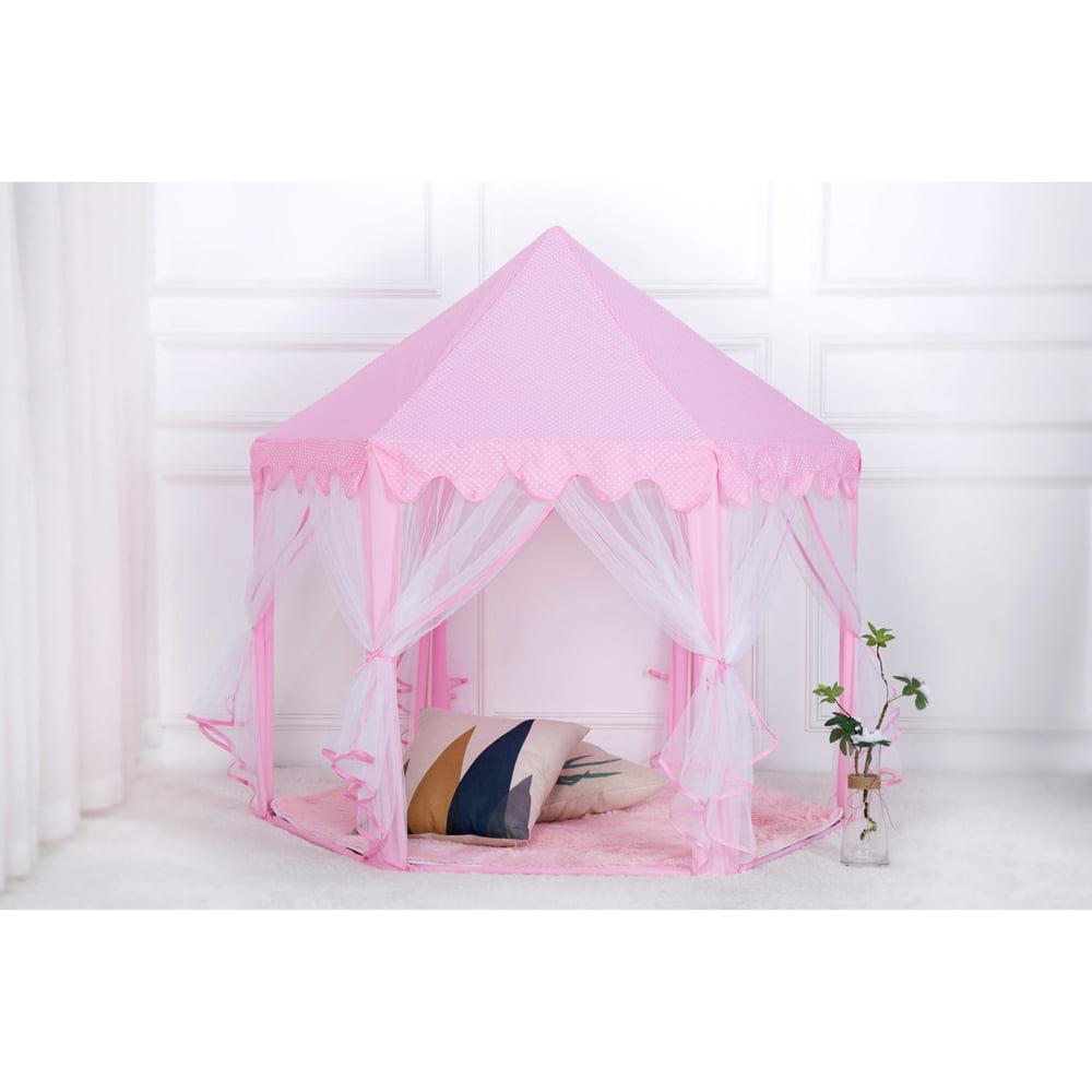 Portable Pop Up Play Tent Kids Girl Princess Castle Outdoor PlayHouse Pink