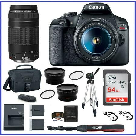 Canon EOS Rebel T7 DSLR Camera with 18-55mm Lens + EF 75-300mm f/4-5.6 III Lens + EOS Shoulder Bag + 64GB SDXC Memory Card +
