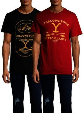 Yellowstone Men's and Big Men's Dutton Ranch & Arrow Logo Graphic T-shirt, 2-Pack Bundle
