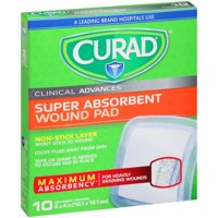 Curad Clinical Advances Super Absorbent Wound Pads, 10 count