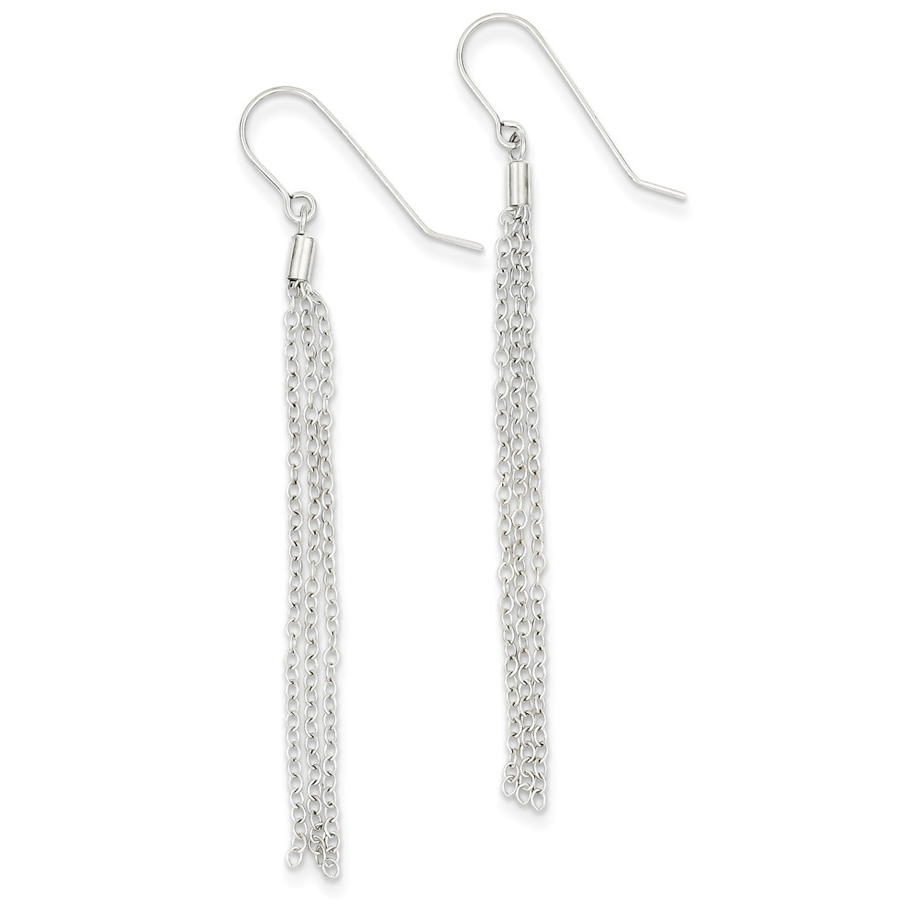 14K White Gold Diamond-Cut Necklace Chain Wire Earrings (69mm x 3mm)