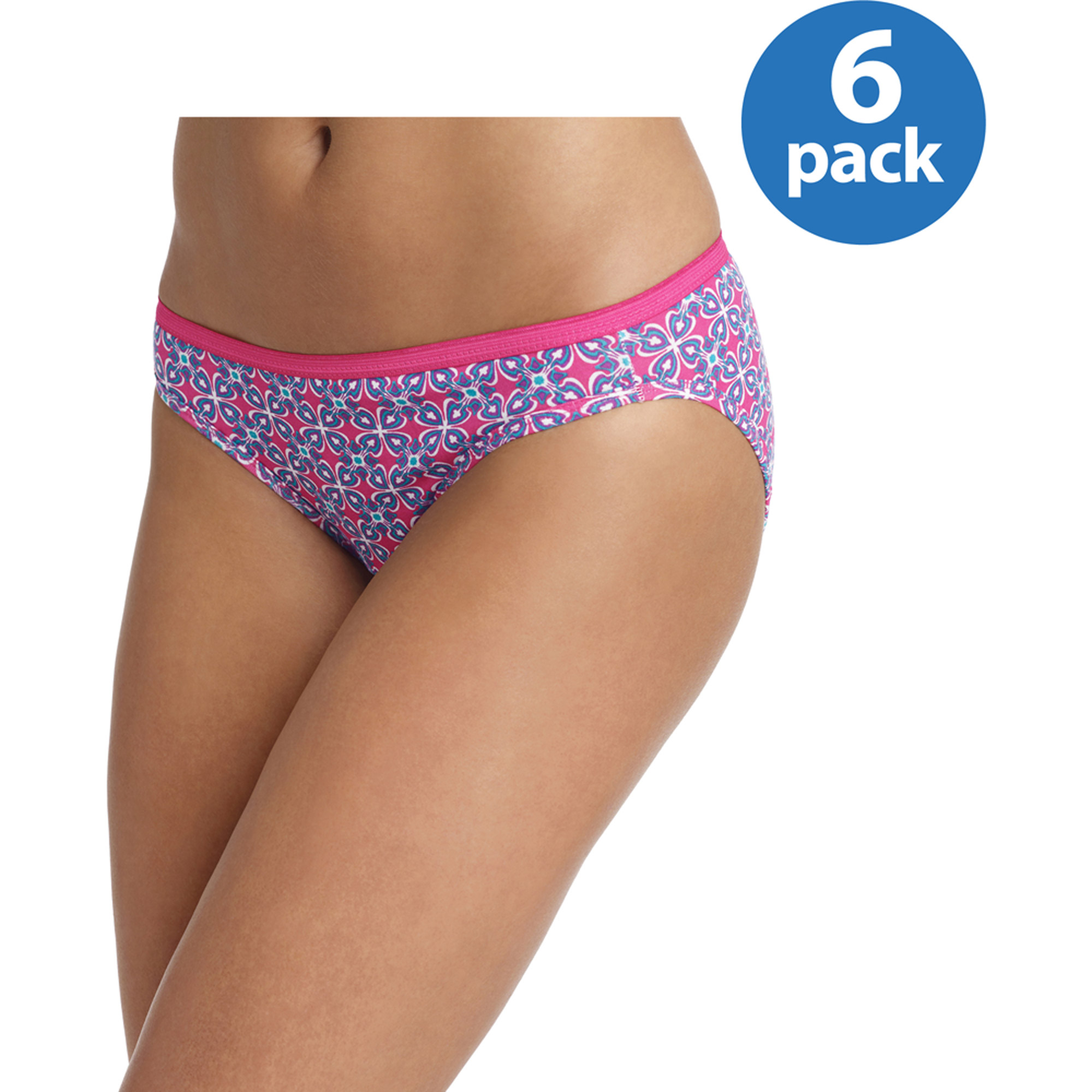 Hanes - Women's Cotton Bikini Panties, 6-Pack, Assorted, Size 9
