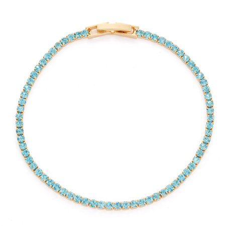X & O 14KT Gold Plated Crystal Solid Pastel Tone Style Single Row Bracelet in Aquamarine