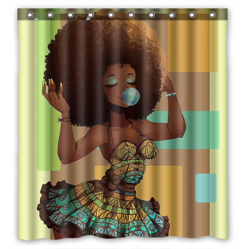 GCKG African Woman Bathroom Shower Curtain, Shower Rings Included 100% Polyester Waterproof Shower Curtain 66x72 Inches