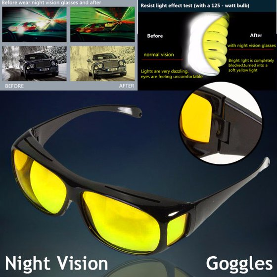 1d9fdc03e0a Unisex Night Vision HD Lenses Sunglasses UV Protection Sports Goggles  Driving Glasses Yellow - Walmart.com