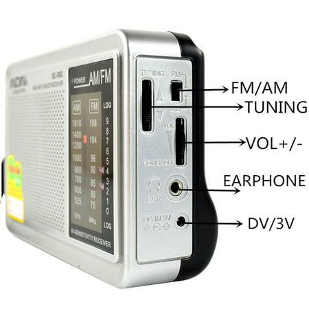 2x INDIN LED HIFI Mini Portable AM / FM Pocket Radio Telescopic Antenna World Receiver Music Player W/ Stereo Speaker Jack 3.5mm Earphone Jack Gift (Halloween Music Playlist Radio)