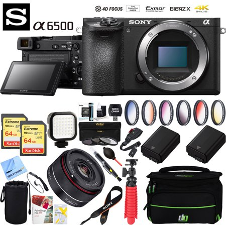 Sony ILCE-6500 a6500 4K Mirrorless Camera Body w/ APS-C Sensor (Black) + 35mm f/2.8 Rokinon Prime Lens