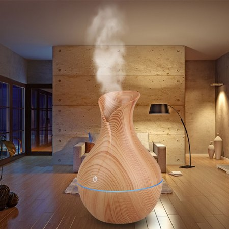 Diffuser and Humidifier, EEEKit 130ml Wood Grain USB Mist Humidifier Aromatherapy Diffuser Air Purifier with Multi-Color Changing LED Lights for Home Office