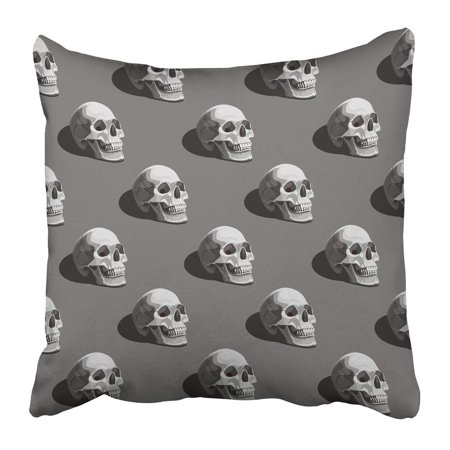 BPBOP Black Bone Halloween Pattern with Skulls on Dark Grey Colorful Creepy Darkness Death Dirty Event Pillowcase 20x20 inch