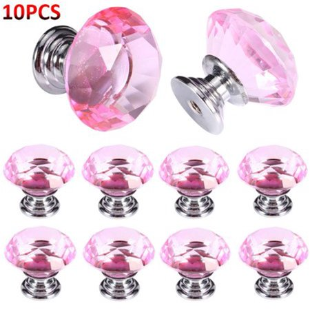 Walfront 10 Pcs Crystal Glass Cabinet Knobs 30mm Diamond Shape Drawer Kitchen Cabinets Dresser Cupboard Clear Wardrobe Pulls Handles