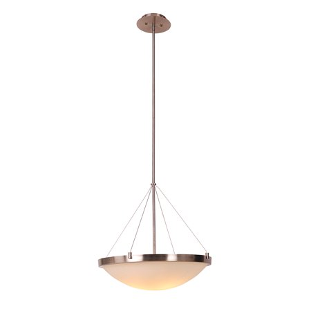 Design House 573139 Eastport Classic Contemporary 3-Light Indoor Dimmable Bowl Pendant with Frosted Glass for Entryway Foyer Dining Room, Satin Nickel