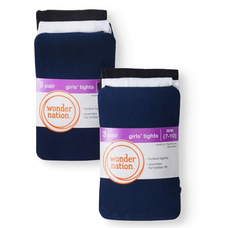 Wonder Nation Opaque Tights, 6 Pack Stockings (Little Girls & Big (Best Way To Get A Six Pack For Women)