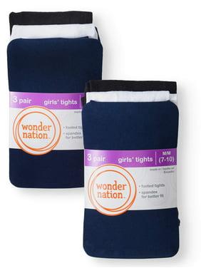 Wonder Nation Opaque Tights, 6 Pack Stockings (Little Girls & Big Girls)