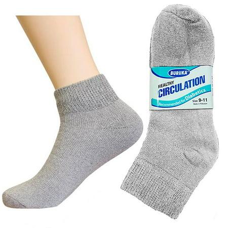 Gray Mens Socks (3 Pair Diabetic Ankle Circulatory Socks Health Support Mens Fit Grey Size 9-11)