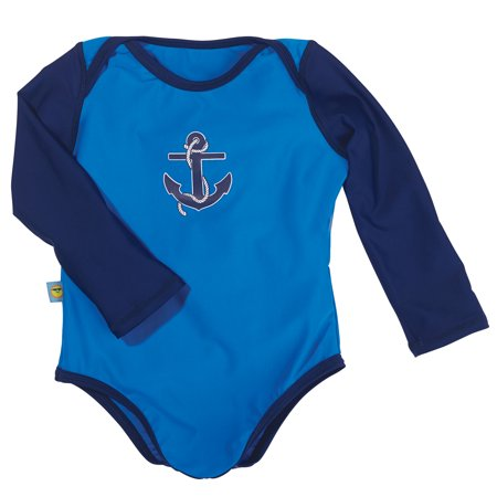 - Sun Smarties Baby Boy Swimsuit - Blue and Navy Nautical Design - UPF 50+ Long Sleeve Sun Protection