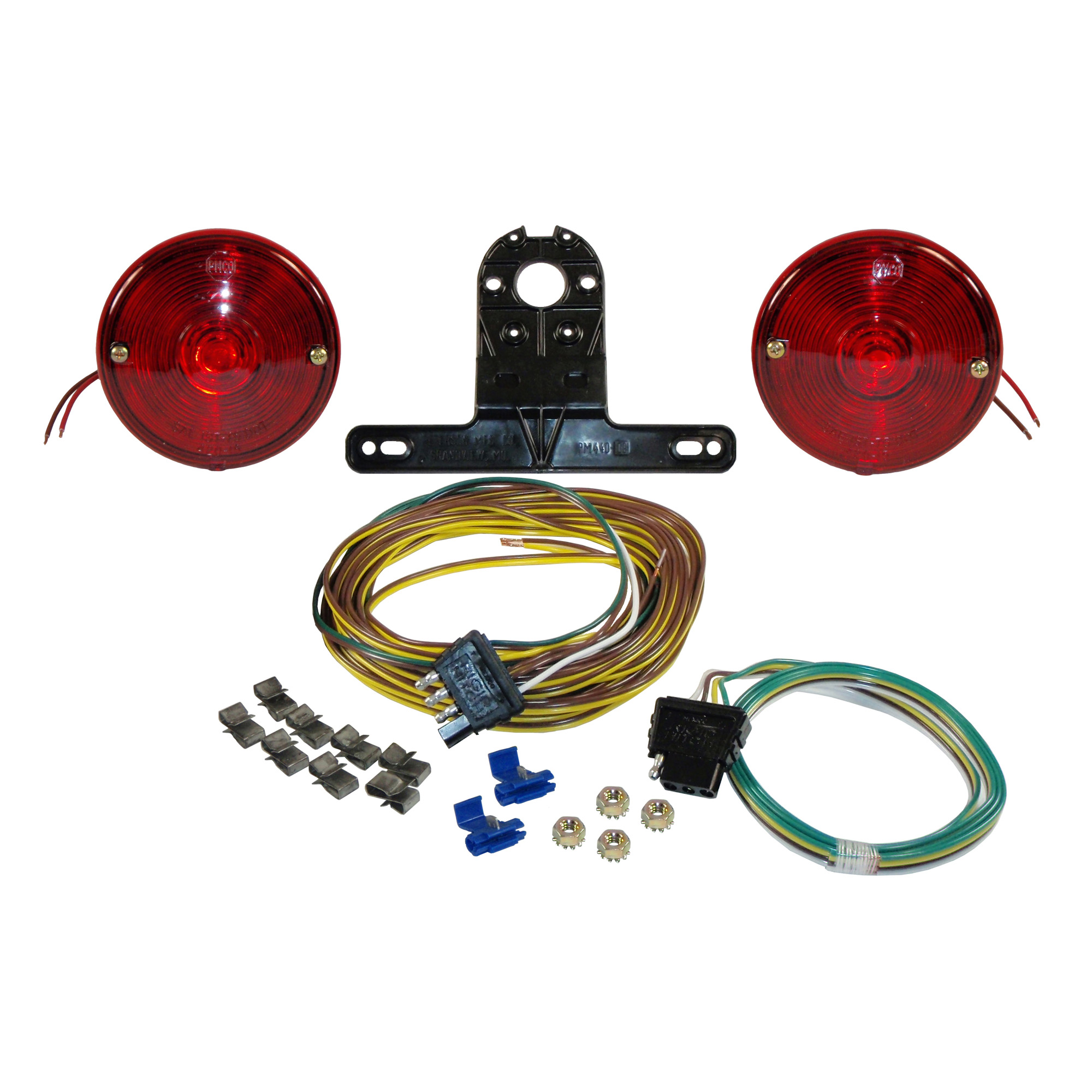 Economy Round Trailer Light Kit with Wiring Harness