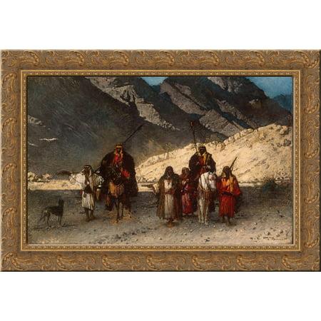 Arabian Sheikhs in the Mountains 24x18 Gold Ornate Wood Framed Canvas Art by Leon - Arabian Sheik Costume