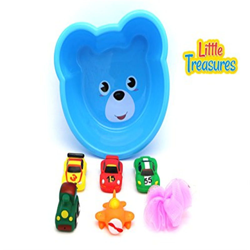 Little Treasures Super Fun Bath Toys Toddler Sized Bathtub Bowl with 5 Squirting bath Toy Vehicles by Little Treasures