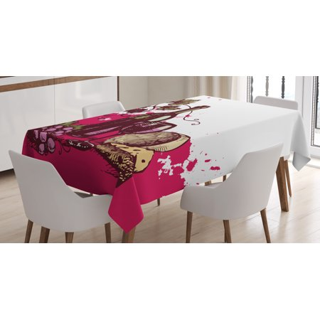 Wine Tablecloth, Vintage Sketchy Artwork Cheese Alcoholic Drink Fruit Abstract Design, Rectangular Table Cover for Dining Room Kitchen, 60 X 84 Inches, Hot Pink Olive Green Cream, by Ambesonne](Hot Alcoholic Drinks For Halloween)
