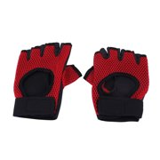 Outdoor Sports Rubber Elastic Half Finger Gloves for Cycling Climbing Red Pair