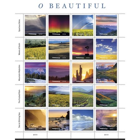 - O Beautiful Sheet of 20 USPS First Class Postage Stamp Natural America Skies Grain Mountains Plains Sea Celebration Wedding (20 Stamps)