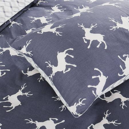 Piccocasa Duvet Cover Cotton Covers 3 Piece Bedding Pillowcase SetNavy Blue Deer - image 4 de 7