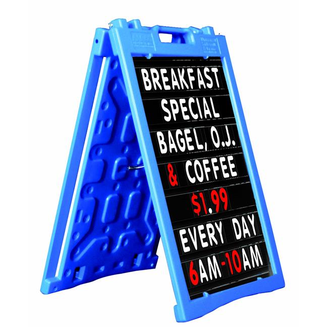 Aarco PAF-6BL Universal Sidewalk A-Frame Sign Holder with Deluxe Black Changeable Letter Board, Blue