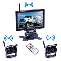 """Podofo Wireless Waterproof Vehicle 2 x Backup Camera Kit DC 12V 24V 7"""" Car Rear View Monitor with IR Night Vision Back Up Camera Parking Assistance System for RV Truck Trailer Bus Camper Motorhome"""