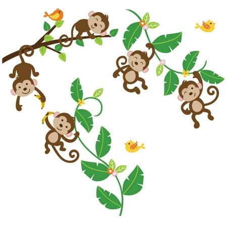 (Five Little Monkeys Nursery/Kids Room Peel & Stick Wall Decals)