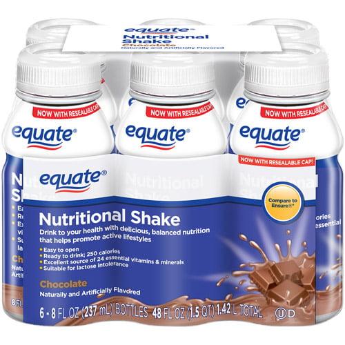 Equate Chocolate Nutritional Shake, 8 fl oz, 6 count
