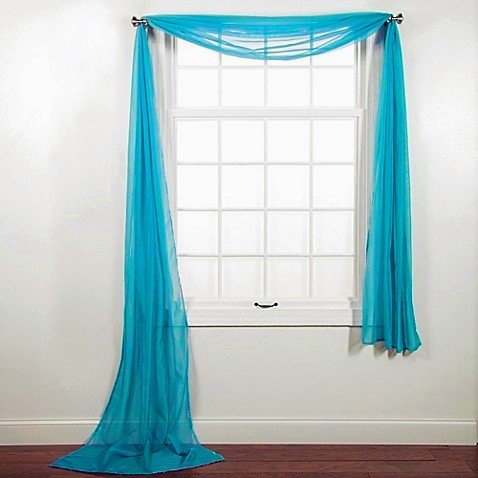 1 pc solid aqua blue scarf valance soft sheer voile window