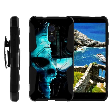 ZTE Max Duo Heavy Duty Case, ZTE Grand X Max 2 Case, ZTE Imperial Max Case for boys [Armor Reloaded] Dual Layer Shell + Holster Clip and Kickstand Design by Miniturtle® - Cyborg Robot (Capes For Boys)