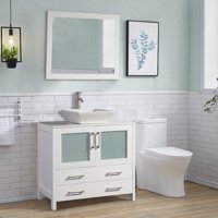 "Vanity Art 36"" Single Sink Bathroom Vanity Combo Set 2-Drawers, 1-Shelf Quartz Top Bathroom Vanity with Sink & Free Mirror"