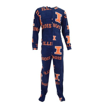 Illinois Fighting Illini Men's Ramble Union Suit Adult - All In One Suits For Adults
