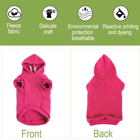 Cotton Dog Winter/Spring/Fall Sweatshirt Hoody Pet Clothes Warm Coat Fuchsia S - image 1 of 7